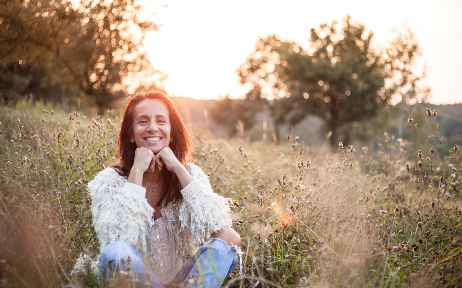 Menopausal Women In Field of Flowers
